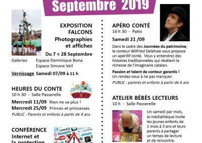 Animations SEPTEMBRE 2019 - Médiathèque Arthur Conte