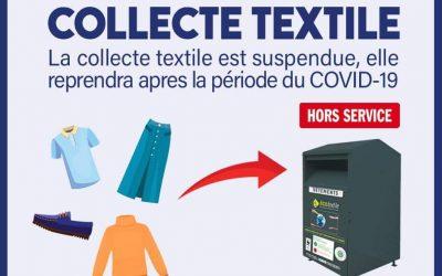 COVID 19 – Collecte de textile momentanément suspendue