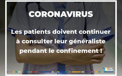 COVID-19 : Consultation de votre généraliste pendant le confinement !